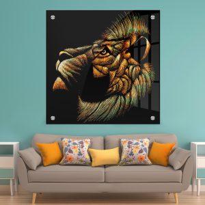 תמונת זכוכית אריה בוהה לסלון לעיצוב הבית