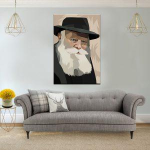 תמונת קנבס הרבי מליובאוויטש לסלון לעיצוב הבית
