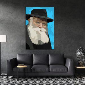 תמונת קנבס הרבי מליובאוויטש כחול לסלון לעיצוב הבית