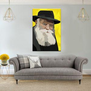 תמונת קנבס הרבי מליובאוויטש צהוב לסלון לעיצוב הבית