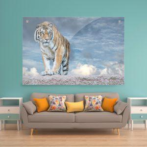 תמונת זכוכית טייגר על הצוק לסלון לעיצוב הבית