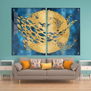 תמונת זכוכית לוויתן חלל לעיצוב הבית על קיר בסלון