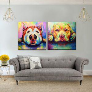 זוג תמונות קנבס מנוחת הכלבים לסלון לעיצוב הבית, לחדרי שינה או למטבח