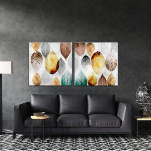 תמונת קנבס עלים טקסטור לסלון לעיצוב הבית