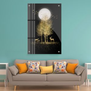 תמונת זכוכית עץ הזוהר לסלון לעיצוב הבית