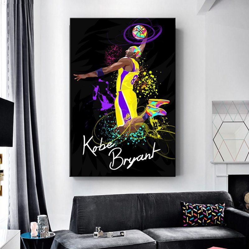 תמונת קנבס קובי ברייאנט צבעוני לסלון לעיצוב הבית