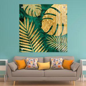 תמונת זכוכית קישוט עלי זהב לסלון לעיצוב הבית