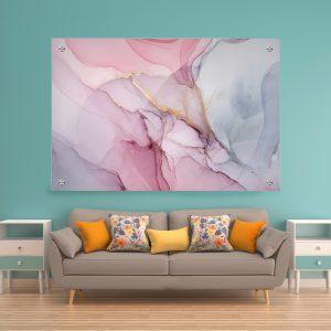 תמונת זכוכית שיש סבוני ורוד לסלון לעיצוב הבית