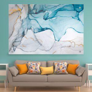 תמונת זכוכית שיש סבוני אפור כחול לסלון לעיצוב הבית