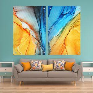 תמונת זכוכית אבסטרקט חוף הים לסלון לעיצוב הבית