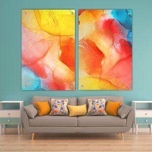 תמונת זכוכית לסלון אבסטרקט קוקטייל לעיצוב הבית