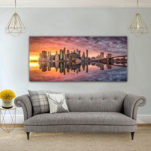 תמונת קנבס השתקפות סיטי לסלון לעיצוב הבית