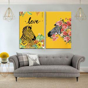 תמונת קנבס זברת אהבה לסלון לעיצוב הבית