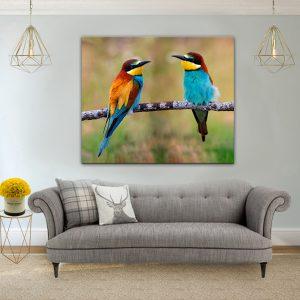 תמונת קנבס זוג ציפורים לסלון לעיצוב הבית