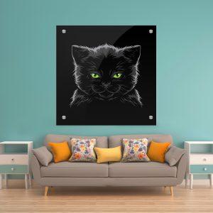 תמונת זכוכית חתול עייני ירוק לסלון לעיצוב הבית