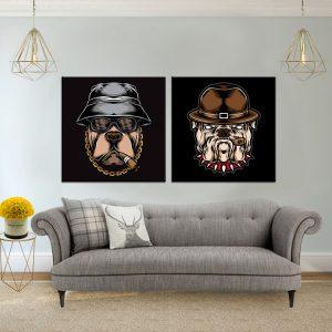 תמונת קנבס כלבים אדונים לסלון לעיצוב הבית