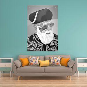 תמונת קנבס מרן הרב עובדיה יוסף – פופ ארט שחור לבןלסלון לעיצוב הבית