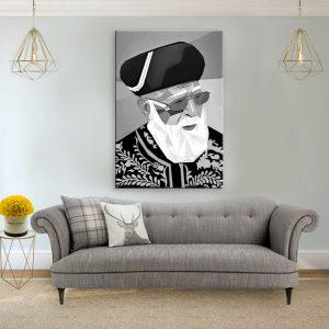 תמונת קנבס מרן הרב עובדיה יוסף – פופ ארט שחור לבן לסלון לעיצוב הבית