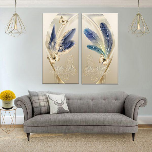 תמונת קנבס נוצות הפרפר לסלון לעיצוב הבית