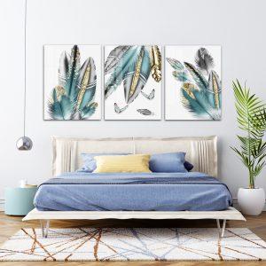 תמונת קנבס נוצות יוקרה לסלון לעיצוב הבית