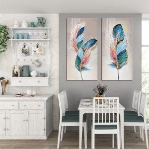 תמונת קנבס נוצות מאופרות לסלון לעיצוב הבית