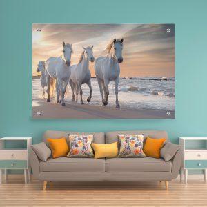 תמונת זכוכית סוסים על הים לעיצוב הבית