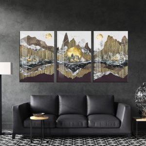תמונת קנבס עולם מוזהב לסלון לעיצוב הבית