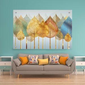 תמונת זכוכית עצים שהם עלים לעיצוב הבית