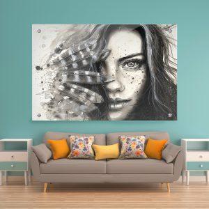 תמונת זכוכית פני נוצות לסלון לעיצוב הבית