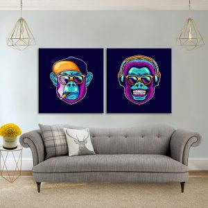 זוג תמונות קנבס קופים גאנגס לסלון לעיצוב הבית