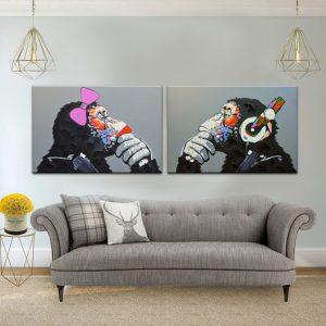 תמונת קנבס הקופים החושבים לסלון לעיצוב הבית