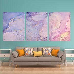 תמונת זכוכית שיש סבוני ורוד סגול לסלון לעיצוב הבית