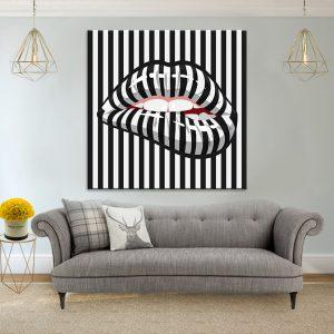 תמונת קנבס שפתיים שחור לבן לסלון לעיצוב הבית