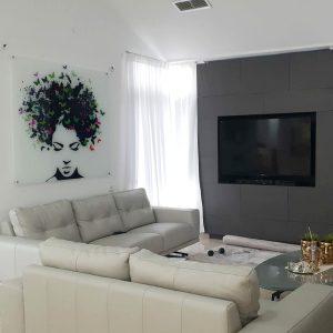תמונת זכוכית - שיער פרפרים לעיצוב הבית על קיר בסלון