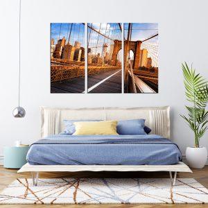 תמונת קנבס גשר ברוקלין בבוקר לסלון לעיצוב הבית