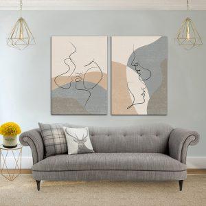 תמונת קנבס זוג מינמליסטי לסלון לעיצוב הבית