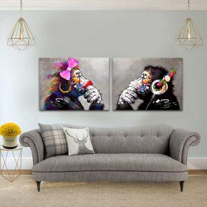תמונת קנבס זוג קופים לסלון לעיצוב הבית