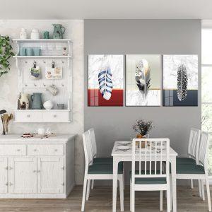 תמונת קנבס נוצות חרסינה לסלון לעיצוב הבית