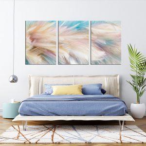 3 תמונת קנבס נוצות פנינה לסלון לעיצוב הבית