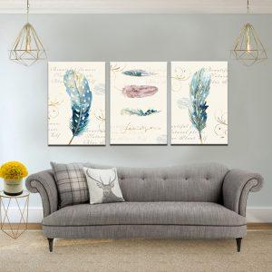 תמונת קנבס נוצות קלף לסלון לעיצוב הבית
