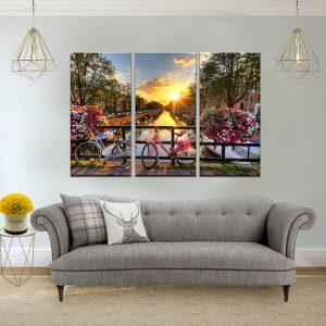 תמונת קנבס על גשר באמסטרדם לסלון לעיצוב הבית