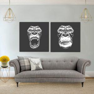 תמונת קנבס קופים זועמים לסלון לעיצוב הבית