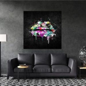 תמונת קנבס שפתיים אופנתיות לסלון לעיצוב הבית