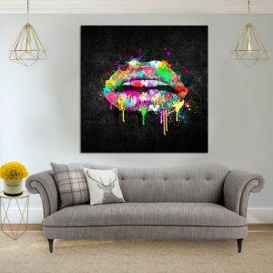 תמונת קנבס שפתיים צבעוניות לסלון לעיצוב הבית