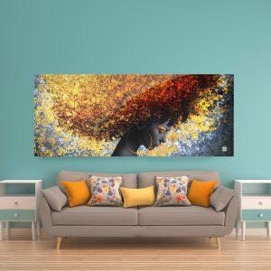 תמונת זכוכית שיער השמש פנורמי לסלון לעיצוב הבית