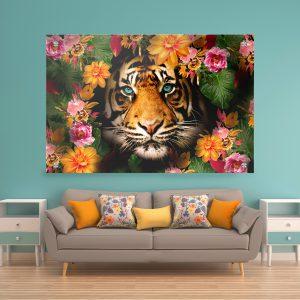 תמונת זכוכית פרח הנמר לסלון לעיצוב הבית