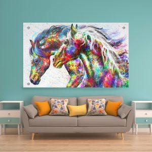 תמונת זכוכית סוסים צבעוניים