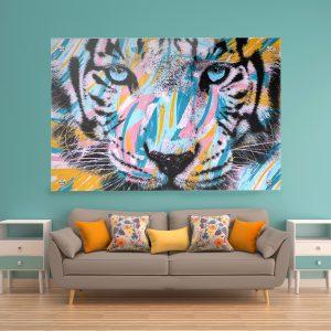 תמונת זכוכית - טייגר מוברש לעיצוב הבית על קיר בסלון