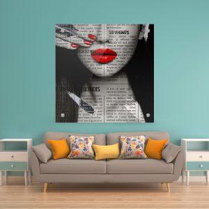 תמונת זכוכית עיתון לאישה אדום לעיצוב הבית על קיר בסלון