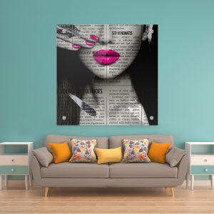 תמונת זכוכית עיתון לאישה ורוד לעיצוב הבית על קיר בסלון